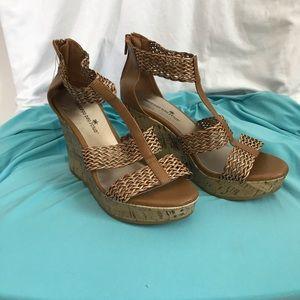 MONTEGO BAY CLUB NWT cork wedge zip sandals 8 1/2